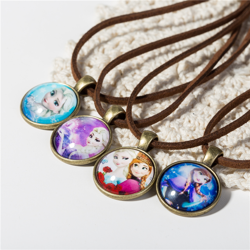 Cute Cartoon character Jewelry Glass Cabochon Brown Leather Chain Necklace Pendants Fashion Collares Women Girl Children Gift(China (Mainland))