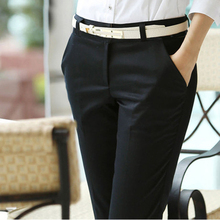 New 2017 Spring and Summer Women Ol Formal Pants Slim Straight Casual Pants Plus Size Women's Overalls High Waist Pants