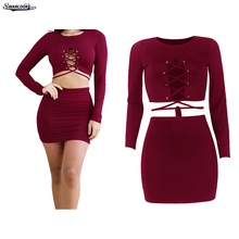 K 2017 Autumn New Arrival Women Fashion Bandage O-Neck Long Sleeve Sexy Corn Band Shirt Bag Hip Skirt Two Piece Nightclub Suit(China)