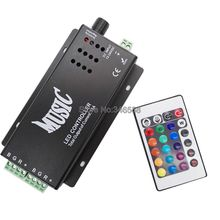 12V - 24V 12A Sound Activated Music Controller Black Color with 24key IR Remote Control 144W 2 Ports Output for RGB LED Strip(China)