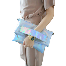 Foldable Silver Evening Clutch Bags Fashion Shoulder Bags High Quality Handbags Lady Envelope Cross Body Bag Holographic(China)