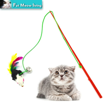 1pcs Pet cat toy Cute Design Rope Mouse Feather Teaser Wand Plastic Toy for cats interactive Products For pet 30cm Free shipping
