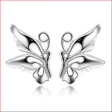 Only 925 Sterling Silver Butterfly Earrings Chinese Couture Jewelry Wholesale female delicate and lovely butterfly(China)