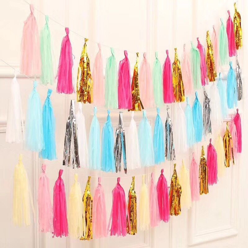 5pcs 14/'/' Tissue Paper Tassel Garland Bunting Wedding Home Party Baby Decor Gift