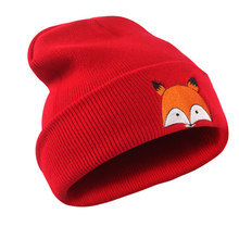 Fashion Headwear Women's Beanies Winter Hats Embroidered Fox Pattern Cuff Knit Warm Skull Caps Red Grey Navy Black White
