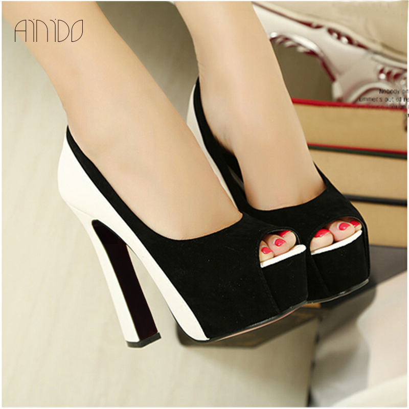 New Fashion Women Pumps Sexy Platform High Heels Shoes for Woman Black &amp; White<br><br>Aliexpress
