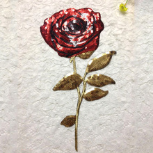 Embroidered iron on patches for clothes Sequins Red Rose deal with it clothing DIY Motif Applique Stickers patch(China)