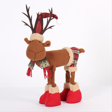 Ornaments New Year Christmas Decoration For Home Lovely Elk Plush Doll  Cloth Crafts Toy Kids Christmas Gifts
