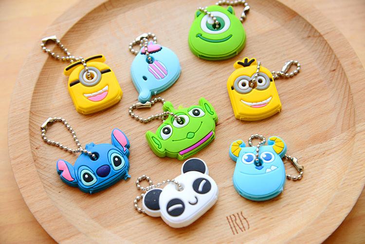1PCS-Cute-Cartoon-Elephant-Keychain-Silicone-Stitch-Minion-Key-Cover-Key-Caps-Key-Chains-Key-Ring (1)