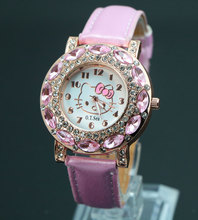 Wholesale Free Shipping New 2016 Fashion Hello Kitty Wrist Watch Children Girl Women Leather Crystal Quartz Watch 2201606142