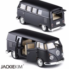 FreeShipping High Simulation 1:36 Car Toy Volkswagen Van T1 Cars Models with Pull Back Matte Black  Kids Toys Gift Toys