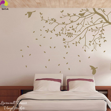120cmx88cm Large Size Tree Bird Wall Sticker Bedroom Kids Room Branch Leaves Animal Plant Wall Decal Vinyl Home Decor Art Mural(China)