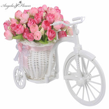 High Quality 17 kinds style rattan vase + flowers meters spring scenery rose artificial flower set home decoration Birthday Gift(China)