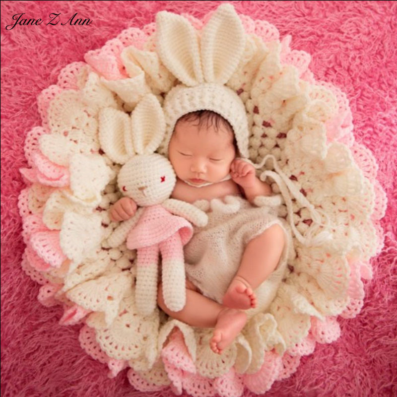 Jane Z Ann 3pcs Set Newborn Photography Blanket Pink Rabbit Photo Props Crochet Bear Hats Knitted Blanket Baby Photo Shoot prop <br>