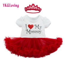 Infant Girls Dress for Mother's Day Boutique Pretty Kids Summer Short Sleeve Dress with Red Mesh Baby Clothing as Party Gifts