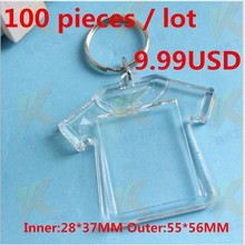 100Pcs/Lot Blank Transparent Clear Acrylic Insert Photo Picture Frame Key Ring Chain Keychain Rectangle Round Heart(China)