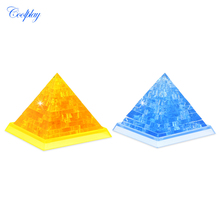 COOLPLAY Plastic Crystal Pyramid Puzzle Toys Clear 3D Assembled Model Building children Play Set toy for Kids(China)