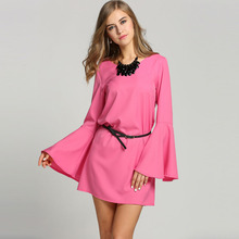 Plus Size Fashion Women V-Neck Flare Long Sleeve Loose Chiffon Straight Dress Casual Summer Beach Mini Shift Dress Vestidos u2