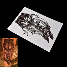 1 sheet Waterproof Wolf Dreamcatcher Temporary Tattoo Arm Body Art Temporary Tattoo Stickers(China)