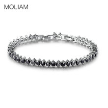 MOLIAM Fascinating Female Chains Silver Color Classic Bangle Black Cubic Zirconia Cool Bracelets Wholesale MLL115