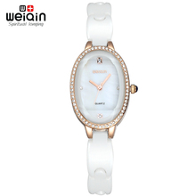 Weiqin Rose Gold & Silver Crystal Rhinestone Shell Dial White Ceramic Watch Women Luxury Brand Fashion Watches Relogio Feminino