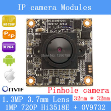 HD 1280 * 720P 1.0 Megapixel 32 * 32mm IP Camera module upgrade HI3518E + OV9732 1.3MP 3.7MM Lens Mini Pinhole Security Camera