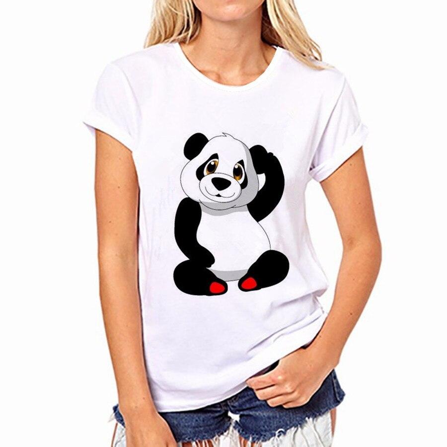 100% Pur Coton T-Shirt D'été 2018 Vente De Mode Col Rond T-shirt Adorable Panda Mignon T-shirt Femmes kawaii Vêtements Casual 21