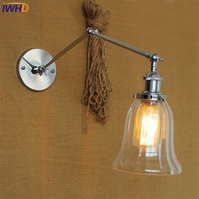 IWHD Swing Long Arm LED Wall Light Up Down Glass Luminaire On the Wall Lamp Bedroom Iron Wandlamp Edison Bulb Lights Fixtures