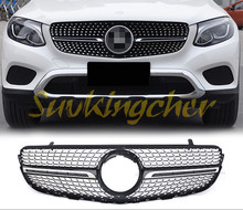 ABS chrome Fit for Mercedes Benz GLC X253 2015 2016 2017 front mesh front grille vent(China)