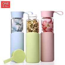 Candy Color Glass Water Bottle Portable My Water Bottle With Silicone Sleeve Drinkware Sport Bicycle Bottles For water