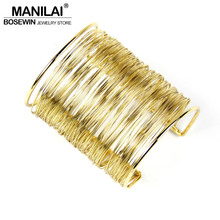 Boho MultiLayer Iron Wire Women Cuff Bangle Fashion Wide Alloy Bangles & Bracelets Manchette Statement Jewelry Accessories BL223
