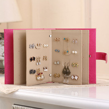 Earring Holder Display Shelf PU Leather Jewelry Organizer Notebook Diary Design Ear Stud Jewelry Display Rack(China)