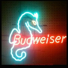 RARE VINTAGE SEAHORSE BUDWEISER Neon Bulbs Glass Tube Handcrafted Neon Sign Recreation Room Garage Custom LOGO Attract 30X20(China)