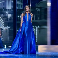 2017 Miss America  Long Elegant Evening Dress A Line Royal Blue Pageant Formal Gowns Outfit Evening Dress Satin Robe De Soiree