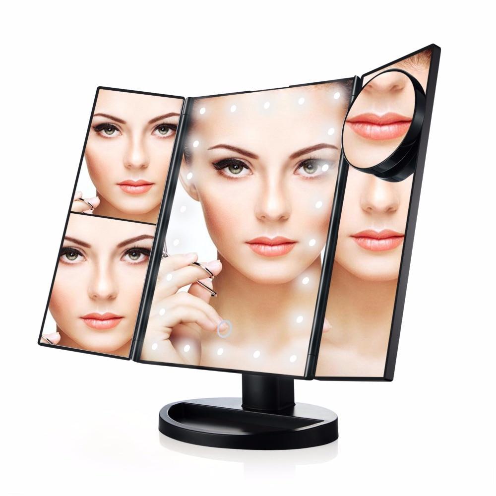 21 LED 10X Three Folding Table LED Lamp Luminous Makeup Mirror Cosmetic Mirror Adjustable Tabletop Countertop Light Mirror<br>