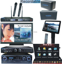 Hard Drive Karaoke Player Full System Recordable Jukebox ,Touch Screen ,Speaker Karaoke Mixer Amplifer 2UHF Wireless Mirophones