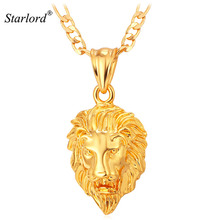 Hot Hip Hop Jewelry Big Lion Head Pendant Gold Color Figaro Chain For Men Kpop Statement Necklace Collier Wholesale P215(China)