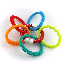 Brand New Hot Sale Baby Toys 0-12 months Rainbow Kids Molars Ring Teether Teddy Chain Clutch Ring Apron Baby Birthday Gifts
