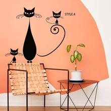 China Art design cheap home decoration vinyl creative cats wall sticker removable PVC house decor cartoon animal decals in shop