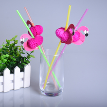 25pcs/lot Flamingo on Paper Straws Wedding birthday Engagement Hawaiian Luau Decoration Tropical Drinks tea party favors