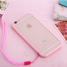 "TPU + Plastic Transparent Hard Back Case Skin With Candy Color Edge for iPhone 6S iPhone 6 S 4.7"" Phone Case W/ Neck Strap Belt"