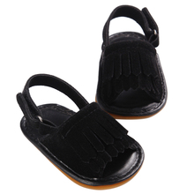 MACH Kids New Designs Fashion Hot sale Double Tassel Pu Leather Shoes Summer Girls Sandals Sneakers Infant Shoes(Black,)