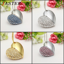 Fashion Jewelry Crystal Heart USB flash pen drive memory stick 4GB 8GB 16GB 32GB  gifts for girl lover 100% real capacity