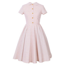 Sisjuly Women Summer Dress Girls A-Line Short Sleeve Pink Plaid Polo Neck Mid-Calf Girl's Summer Vintage A-Line Dresses