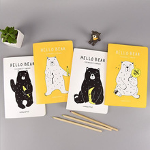 Fashion Creative Novelty Cute Cartoon Animals Hello Bear A5 Notebook Notepad Thin Sketchbook Diary Book Student Gift(China)