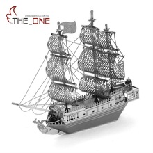 3D Metal Assembly Model Buildings Adult Children Navy Sailing Ship DIY 3D Metallic Nano Puzzle Kids Present Educational Toys