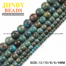 JHNBY Natural Stone Blue decorative pattern carnelian beads Round Loose beads ball 4/6/8/10/12MM Jewelry bracelet making DIY