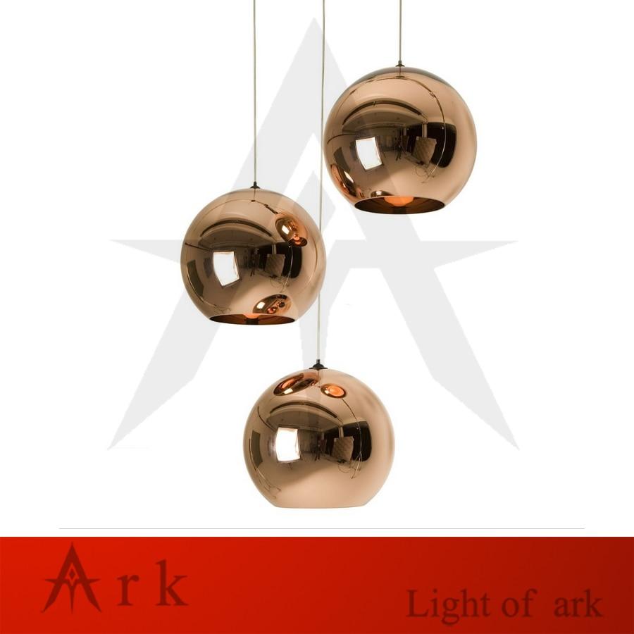 Modern Copper Shade Mirror Chandelier Light E27 Bulb LED Pendant Lamp Modern Glass Ball Lighting<br>