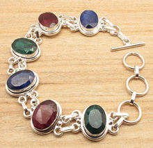 "8 1/2"" ART Bracelet !  Silver Plated Beautiful Rubys Emeralds Sapphires Jewelry"