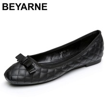 BEYARNE Spring Summer 2017 Lovely patent leather satin bow flats shoes & Block heels ,Golden buckle ballet flat Loafers
